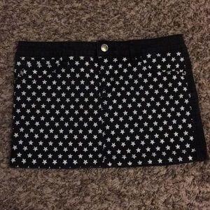 Star Black Jean Mini Skirt